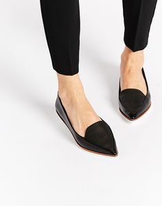 Image 1 of ALDO Hankes Black Contrast Sole Flat Shoes