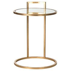 Calvin Round Side Table, Gold/Clear