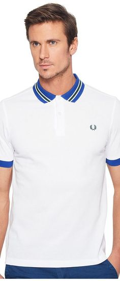 Fred Perry Bomber Stripe Collar Pique Shirt (White 1) Men's Clothing - Fred Perry, Bomber Stripe Collar Pique Shirt, M9521-200, Apparel Top General, Top, Top, Apparel, Clothes Clothing, Gift, - Street Fashion And Style Ideas