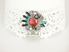 Soutache hair comb grey soutache headpiece colorful hair от pUkke