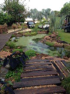 Backyard Water Feature, Large Backyard, Ponds Backyard, Backyard Landscaping, Landscaping Ideas, Backyard Waterfalls, Garden Ponds, Koi Ponds, Backyard Ideas