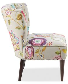 Furniture Lindley Floral Fabric Accent Chair & Reviews - Chairs - Furniture - Macy's Grey Accent Chair, Accent Chairs, Unique Living Room Furniture, Floral Fabric, Living Spaces, Spiritual, Design, Home Decor, Rooms