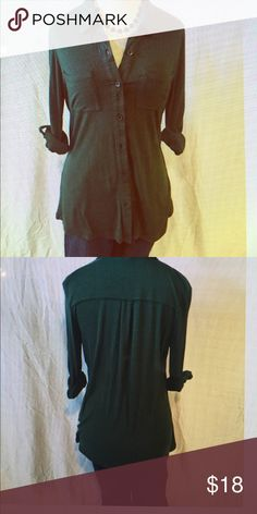Tining hunter green button down. Super soft and stretchy cotton material, hangs loose, button down, roll up she leaves. Timing Tops Button Down Shirts