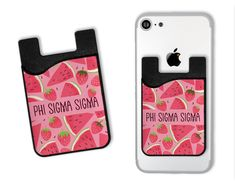 A two-in-one silicone phone pouch fits credit cards, IDs, or cash and also features a removable microfiber screen cleaner. A 3M adhesive strip securely attaches the Card Caddy to the back of your device. The soft cleaning cloth can be used to gently clean dirt and fingerprints from your screen. To use, simply peel off, clean the screen, and return the screen cleaner to the exterior of the pouch. These useful card holders adhere easily to the back of any phone or phone case. 3M adhesive… Engraved Tumblers, Alpha Phi, Alpha Delta, Delta Zeta, Fingerprints, Credit Cards, Card Holders, Adhesive, Watermelon
