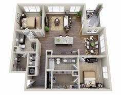 Awesome Apartment 3D Floor Plans Two Bedroom