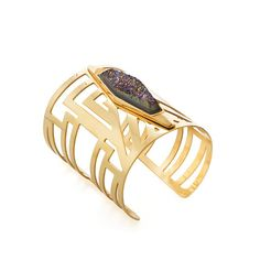 Atlantis Rainbow Druzy Gold Cuff by Francesca Romana Diana  #jewelry #gold #cuff #rainbow #jewel #bracelet