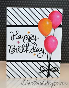 Birthday Balloons - distress paint and distress makers, with video tutorial. #compartirvideos #funnyvideos #videowatsapp