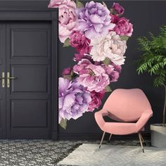 Nursery Wall Decals and Removable Wallpaper for your home, office and nursery. Just peel and stick to the wall. Our wall decals are also perfect for kids rooms. Mural Floral, Floral Wall, Nursery Decals Girl, Deco Originale, Flower Wall Stickers, Flower Decals For Walls, Girl Decor, Wall Murals, Wall Art