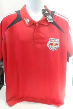 New-Men-039-s-Adidas-2XL-XXL-Red-Climacool-Polo-New-York-Red-Bulls-MLS-NWT-Formotion