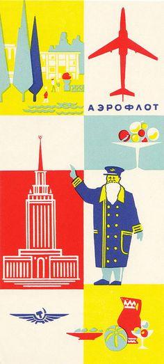ancienne pub Aeroflot années 50 Aeroflot vintage airlines ad 50s