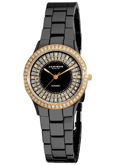 Price:$127.29 #watches Akribos XXIV AK509BKG, This dazzling Akribos XXIV ladies' ceramic fashion timepiece features a bezel adorned with dazzling crystals. The sunray dial and sparkling glitter makes this a luxurious timepiece.