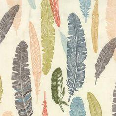 Nomad Plume in Bone Cotton Fabric by CedarandNeedleFabric on Etsy