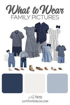 Summer Family Picture Outfits Discover Navy Chambray and Cream Family Photo Look Option! Link include 8 different color combinations! Fall Family Picture Outfits, Family Portrait Outfits, Family Picture Colors, Beach Picture Outfits, Summer Family Photos, Casual Family Photos, Navy Family Pictures, Family Pictures What To Wear, Family Portraits What To Wear