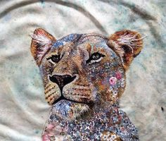 Sophie Standing's Textile art · Few more face details to sew, whiskers and furry chin.