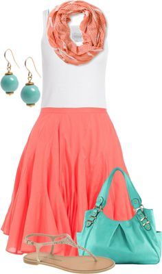 """Coral & Turquiose"" by colierollers on Polyvore. Love these colors for spring!"