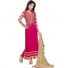 Hina Khan Designer Pink Georgette Embroidered Straight Cut Party Wear Salwar Suit - 15187 ( ML- 879 )