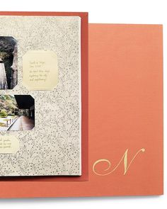 Start with a fabric-covered album, and personalize it with decorative touches. Cover the plain pages with patterned papers, cutting slits to slip in photos and descriptions, and adding a metallic monogram to the cover.