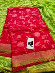 Buy red color pure chiffon sarees with thread work 8897195985 Mysore Silk Saree, Pure Georgette Sarees, Kota Silk Saree, Chanderi Silk Saree, Satin Saree, Bandhani Dress, Cotton Saree Blouse Designs, Best Blouse Designs, Shiffon Saree