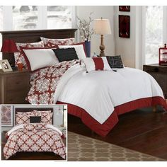 Chic Home 10 Piece Lalita Marsala and White Reversible Medallion printed Plush Hotel Collection Queen Bed In a Bag Comforter Set Marsala With sheet set