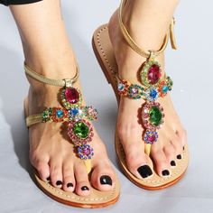 Honolulu - Women's Leather Jeweled Sandals - Mystique Sandals