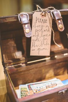 we will bring vintage postcards to use instead of a guest book or message book - we would love to put them in a rustic box similar to this!