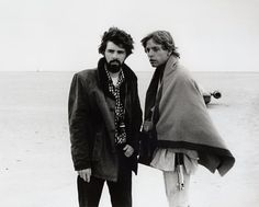"March 1976 publicity photo released by Lucasfilm Ltd. & TM, director, George Lucas, and actor, Mark Hamill, who portrays young Luke Skywalker, are shown on the salt flats of Tunisia during principal photography of the original ""Star Wars."" There's no mistaking the similarities. A childhood on a dusty farm, a love of fast vehicles, a rebel who battles an overpowering empire, George Lucas is the hero he created, Luke Skywalker"