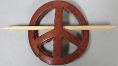 Vintage Leather Peace Sign Hair Clip Holder Barrette Authentic 60s 1960s Hippie | eBay
