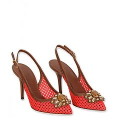 5295ff9a786 Dolce   Gabbana Red   Brown Leather Crystal Embellished Slingback... ( 720)