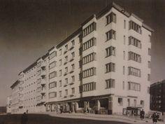"""Kaupungin kuva-arkiston kätköistä. """"Modernia asumista Töölössä"""". Vasta valmistunut asuintalo elokuvateattereineen. Nordenskiöldinkatu 3, Helsinki."""