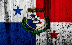Download wallpapers Panama national football team, 4k, emblem, grunge, North America, football, stone texture, soccer, Panama, logo, North American national teams