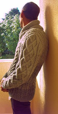 Danny B Aran Pullover - traditional with shawl collar - free by J.Cazley