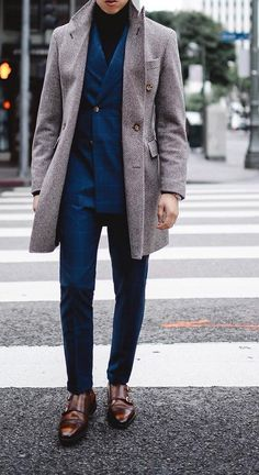 Overcoat with Blazer for Fall Outfit