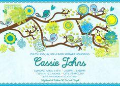 Birds Baby Shower Invitation  Spring Baby Boy by artisacreations, $12.00