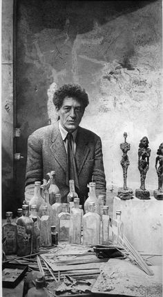 Alberto Giacometti in his studio Drawing by Hucleux