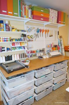 Creative Shelving Ideas for Small Craft Room - The Urban Interior Sewing Room Design, Craft Room Design, Craft Room Decor, Sewing Rooms, Sewing Art, Sewing Studio, Wall Decor, Craft Room Storage, Sewing Room Organization