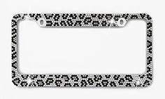 Car Candy 132-ACXG Bling Gray, Black & Clear Leopard Print Crystal License Plate Frame Car Candy