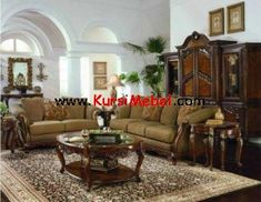 Wooden sofa set designs are applicable decoration idea for living room. The interior design will be in awesome design with the wooden sofa set designs. Fancy Living Rooms, Western Living Rooms, Antique Living Rooms, Classic Living Room, My Living Room, Living Room Furniture, Living Room Decor, Cozy Living, Country Living