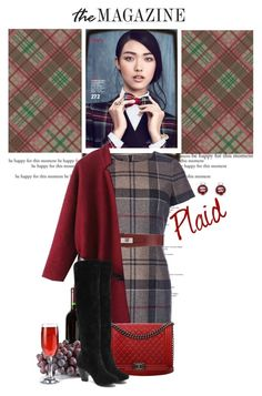 """Plaid for the Holidays"" by terrelyn-thomas-no-tags ❤ liked on Polyvore featuring moda, Barbour, John Richmond e Chanel"