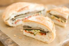 These sandwiches are just as delicious made with grilled or steamed veggies. Or make just the white bean pesto and serve it as a dip with raw veggies at lunch or dinner.