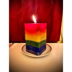 #rainbow #candle Pillar Candles, Birthday Candles, Rainbow, Rain Bow, Rainbows, Candles
