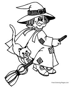 Halloween coloring sheets - Witch on Broom
