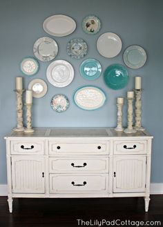 Plate wall - thelilypadcottage.com I love the arrangement of the plates!  Great inspiration!
