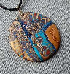 handmade polymer clay fimo and sculpey pendant - 20B