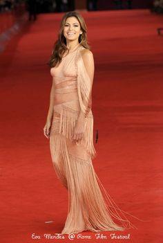 Eva Mendes at the Rome Film Festival in Versace.