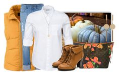 """""""Pumpkin Pickin"""" by easy-dressing ❤ liked on Polyvore featuring Lands' End, Noisy May, Isabel Marant, Louis Vuitton, jeans, vest, polyvoreeditorial and pumpkin"""