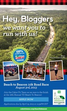 Hey, Bloggers! Win a chance to join the Cabot Fit Team this summer at the Beach 2 Beacon 10K Road Race in Cape Elizabeth, Maine.