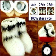 Size 21-23 cm KNITTED White Warm SOCKS ~ HANDMADE ~ Russian  Chuni  Sheep Wool