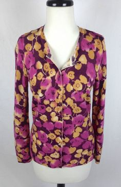Willie Smith Sweater Womens Multicolor Wool Long Sleeve Cardigan M #WilliSmith #Cardigan