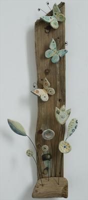 Butterfly and flowers - Shirley Vauvelle-would love to make one like this-just need a nice peice of driftwood