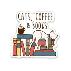 Book Lovers Gifts, Cat Lover Gifts, Cat Gifts, Cat Lovers, Stickers Kawaii, Kids Stickers, Free Stickers, Laptop Decal, Laptop Stickers